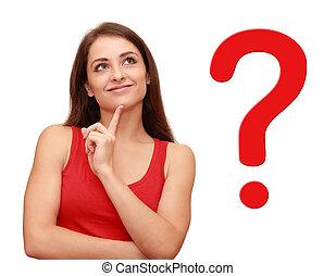 dela, pensando, pergunta, cima, sinal, olhar, menina, vermelho