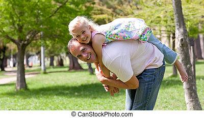 dela, pequeno, tendo, menina, cute, pai, divertimento