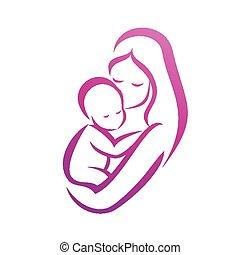dela, símbolo, isolado, silueta, vetorial, mãe, bebê