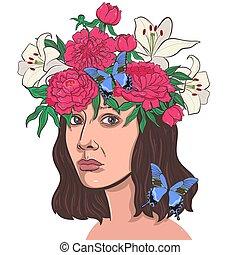 dela, vetorial, hair., menina, graphics., retrato, experiência., flores brancas