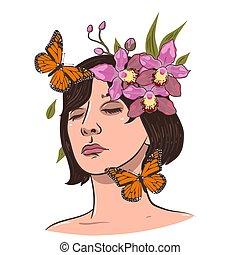 dela, vetorial, hair., menina, retrato, experiência., gráfico, flores brancas