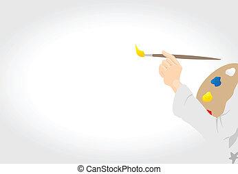 delinear, lona., artista, ilustração, mão, vetorial, escova