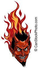 demônio, ou, diabo, gráfico, imagem, mascote, vetorial, cabeça
