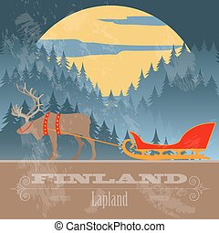 denominado, finland, landmarks., retro