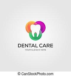 dental, luxo, ou, cuidado, projetos, odontólogo, símbolo, logotipo, coloridos