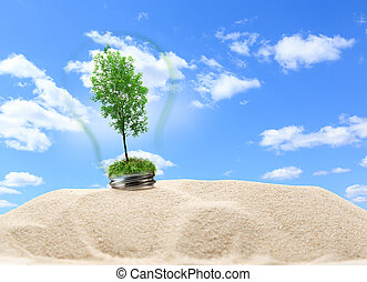 dentro, árvore, lâmpada, areia, verde, cinza