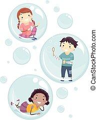 dentro, crianças, stickman, bolhas, ilustração