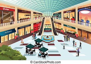 dentro, shopping, cena, centro comercial