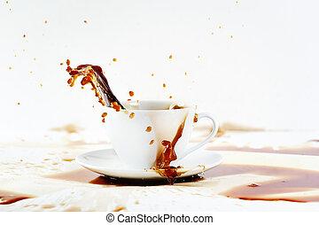 derramando, criando, respingo, copo, café, bonito