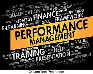 desempenho, gerência, palavra, nuvem