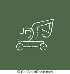 desenhado, ícone, caminhão, escavador, chalk.