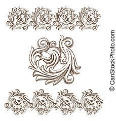 desenhado, barroco, elementos, mão