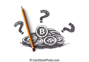 desenhado, bitcoin, isolado, concept., vector., mão