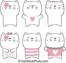 desenhado, estilo, gatos, mão, cute