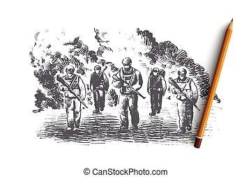 desenhado, isolado, concept., vector., guerra, mão