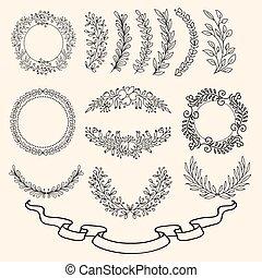 desenhado, jogo, ornamento, mão