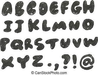 desenhado, mão, enegrecido, alfabeto