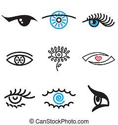 desenhado, mão, olho, ícones
