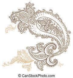 desenhado, mão, paisley, ornament.