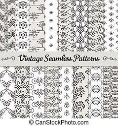 desenhado, mão, seamless, vindima, padrões