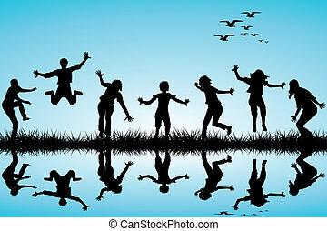 desenhado, mão, tocando, crianças, natureza