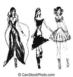 desenhado, moda, meninas, mão