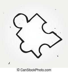 desenhado, quebra-cabeça, vetorial, isolado, mão