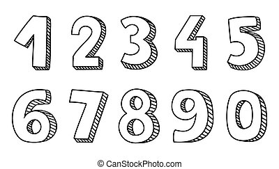 desenhado, vetorial, números, mão, isolado