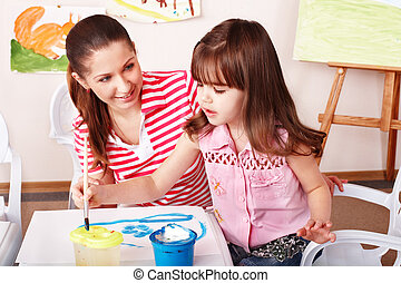 desenhar, room., tintas, jogo, criança, professor