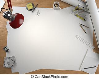 desenhista, espaço, elementos, tabela, cópia, desenho