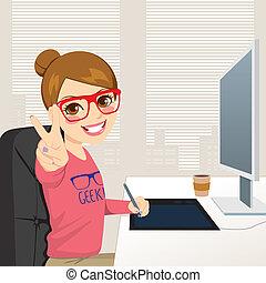 desenhista, gráfico, mulher, hipster, trabalhando