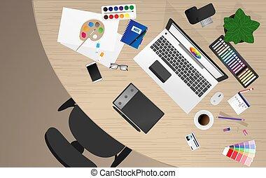 desenhista, local trabalho, trabalhador escritório