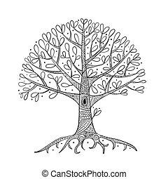 desenho, árvore, seu, raizes