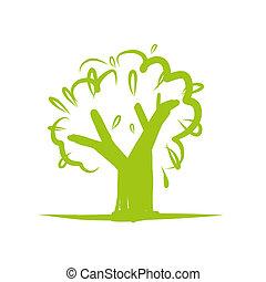 desenho, ícone, árvore, verde, seu