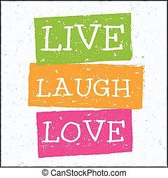 desenho, amor, modernos, ilustração, viver, vetorial, hipster, riso, frase