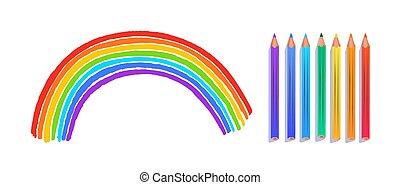 desenho, arco, arco íris, criança
