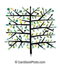 desenho, arte, árvore, seu