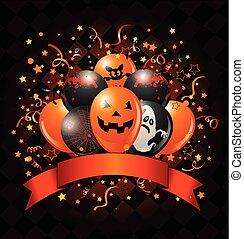 desenho, balões halloween