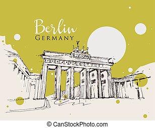 desenho, brandenburg, esboço, ilustração, portão