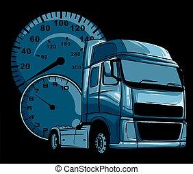 desenho, caminhão, arte, caricatura, ilustração, semi, vetorial