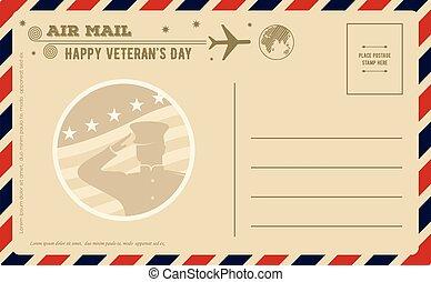 desenho, cartão postal, template., dia, vindima, vetorial, ilustração, veterans