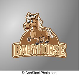 desenho, cavalo, emblema, ilustração