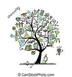 desenho, conceito, árvore, seu, química