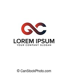 desenho, conceito, letra, gc, modelo, logotipo