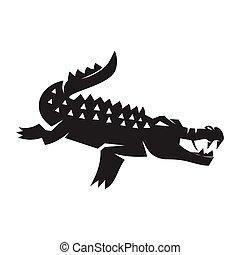 desenho, crocodilo, desporto, isolado, mascote, animal, modelo
