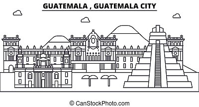desenho, edifícios, landmarks., vetorial, horizonte cidade, editable, conceito, strokes., silueta, linha, guatemala, apartamento, arquitetura, illustration., paisagem urbana, esboço