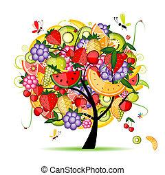 desenho, energia, árvore fruta, seu
