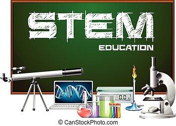 desenho, equipments, ciência, cartaz, caule, educação