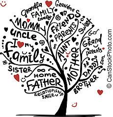 desenho, esboço, árvore, seu, família