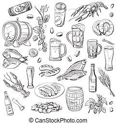 desenho, esboços, jogo, beer., vetorial, mão